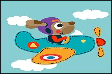 כלב מצוייר בתוך מטוס בשמיים