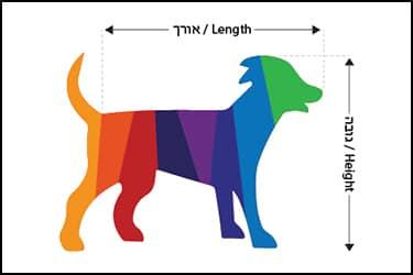 תמונה מצוירת של כלב צבעוני הממחישה כיצד למדוד כלב לצורך רכישת כלוב הטסה