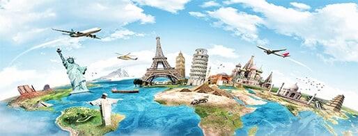 מטוסים מעל כדור הארץ עם מקומות מפורסמים בעולם בתלת-מימד