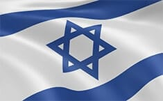 Israel's flag in the wind - the colors of the flag (blue and white) and also the blue star of David are seen in the picture