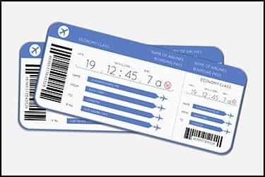 Two boarding tickets