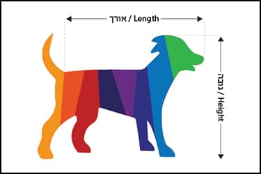 A cartoon image of a colored dog illustrating how to measure a dog before purchasing a pet travel crate