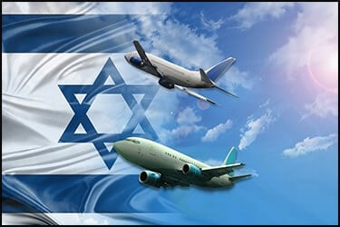 Two planes heading towards Israel's flag