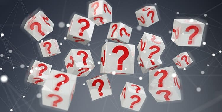 White cubes with 3D rendering red question marks
