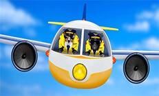 2 כלבים מצויירים מטיסים מטוס