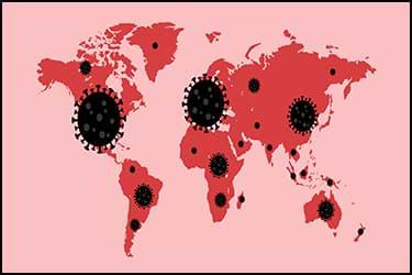 מפת העולם עם נגיף הקורונה
