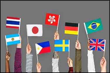 ידיים מחזיקות דגלים