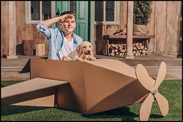 Boy and dog flying in a cardboard plane